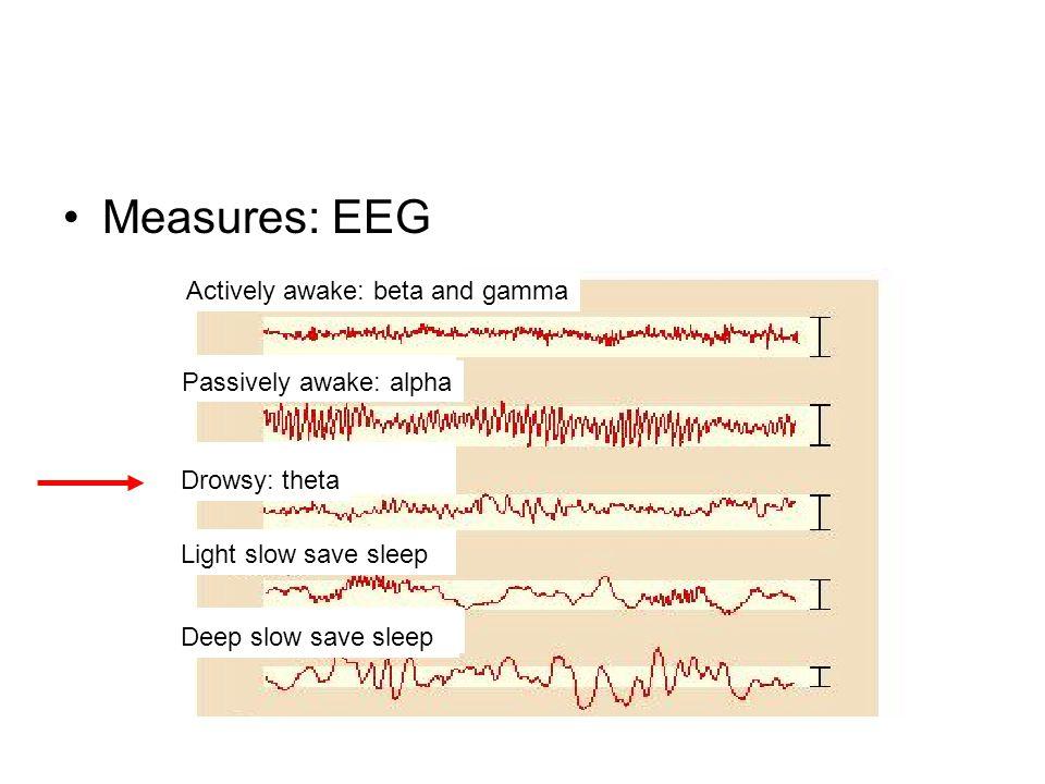 Measures: EEG Actively awake: beta and gamma Passively awake: alpha Drowsy: theta Light slow save sleep Deep slow save sleep