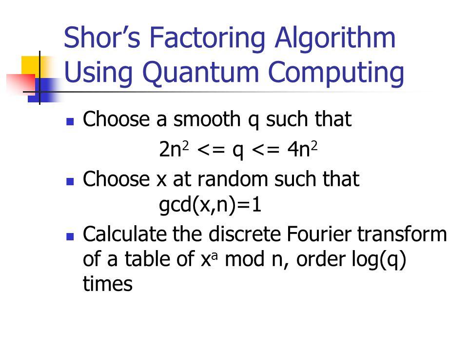 Shor's Factoring Algorithm Using Quantum Computing Choose a smooth q such that 2n 2 <= q <= 4n 2 Choose x at random such that gcd(x,n)=1 Calculate the discrete Fourier transform of a table of x a mod n, order log(q) times