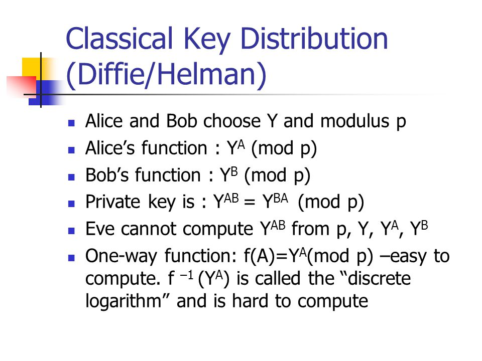 Classical Key Distribution (Diffie/Helman) Alice and Bob choose Y and modulus p Alice's function : Y A (mod p) Bob's function : Y B (mod p) Private key is : Y AB = Y BA (mod p) Eve cannot compute Y AB from p, Y, Y A, Y B One-way function: f(A)=Y A (mod p) –easy to compute.