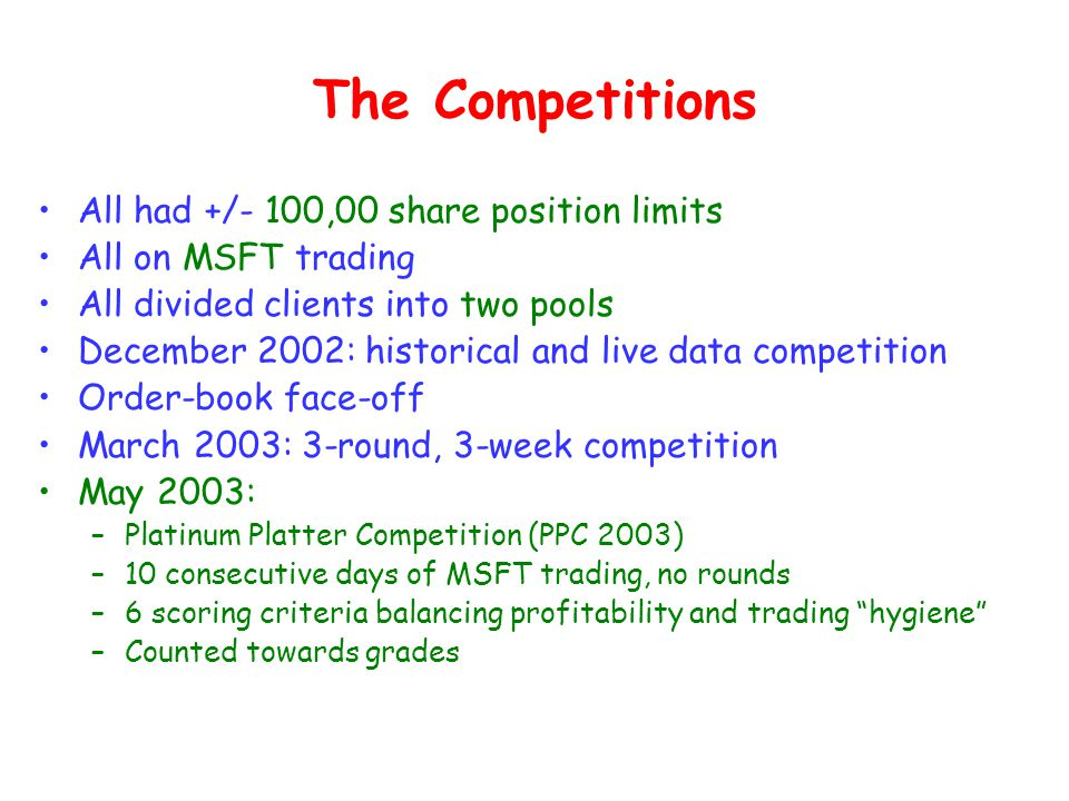The Competitions All had +/- 100,00 share position limits All on MSFT trading All divided clients into two pools December 2002: historical and live data competition Order-book face-off March 2003: 3-round, 3-week competition May 2003: –Platinum Platter Competition (PPC 2003) –10 consecutive days of MSFT trading, no rounds –6 scoring criteria balancing profitability and trading hygiene –Counted towards grades