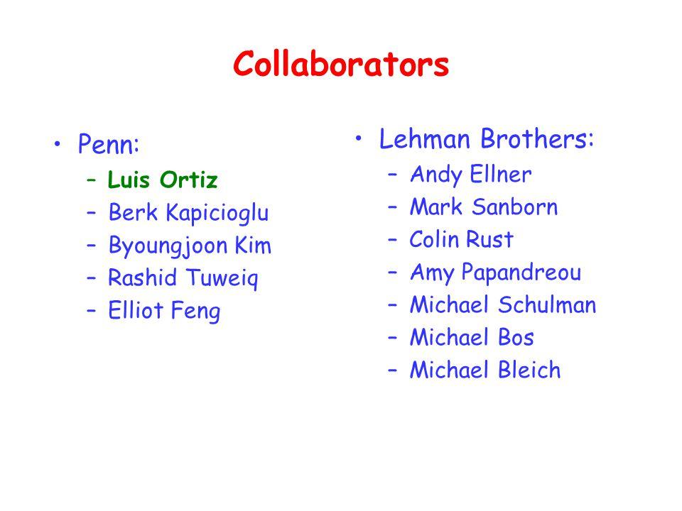 Collaborators Penn: –Luis Ortiz –Berk Kapicioglu –Byoungjoon Kim –Rashid Tuweiq –Elliot Feng Lehman Brothers: –Andy Ellner –Mark Sanborn –Colin Rust –Amy Papandreou –Michael Schulman –Michael Bos –Michael Bleich