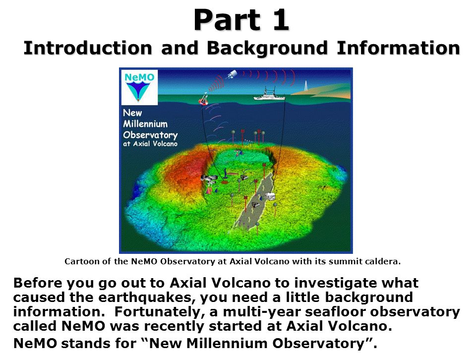 Part 1 Introduction and Background Information Before you go out to Axial Volcano to investigate what caused the earthquakes, you need a little backgr