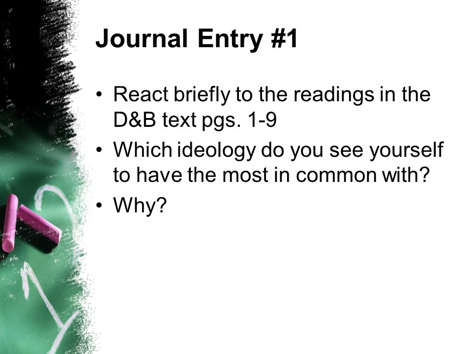 Journal Entry #1 React briefly to the readings in the D&B text pgs.