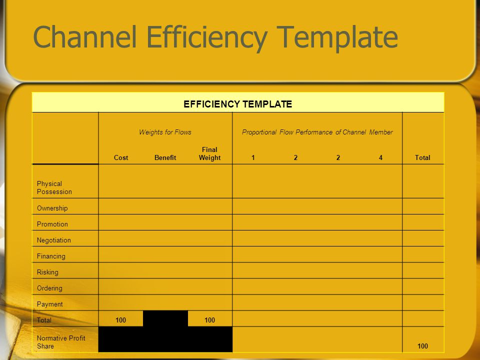 Channel Efficiency Template EFFICIENCY TEMPLATE Weights for FlowsProportional Flow Performance of Channel Member CostBenefit Final Weight1224Total Physical Possession Ownership Promotion Negotiation Financing Risking Ordering Payment Total100 Normative Profit Share 100