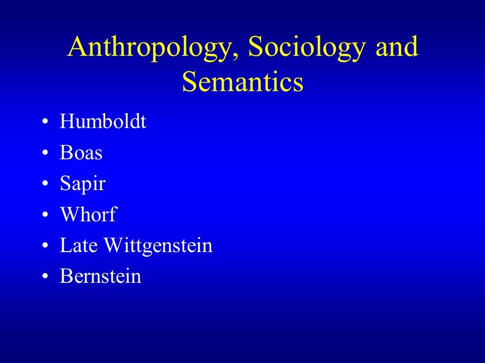 Anthropology, Sociology and Semantics Humboldt Boas Sapir Whorf Late Wittgenstein Bernstein