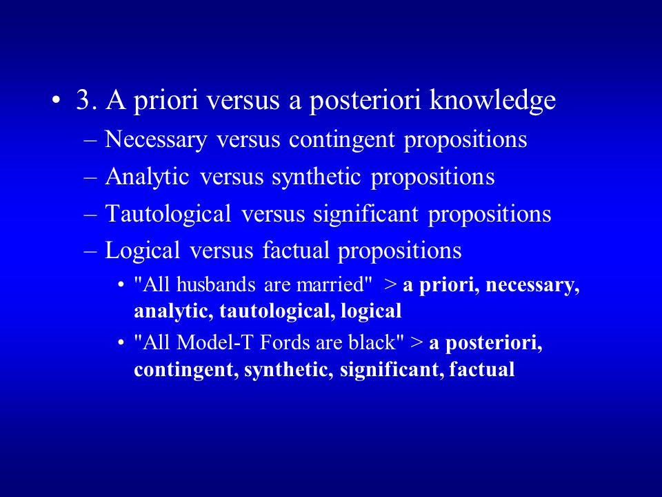3. A priori versus a posteriori knowledge –Necessary versus contingent propositions –Analytic versus synthetic propositions –Tautological versus signi