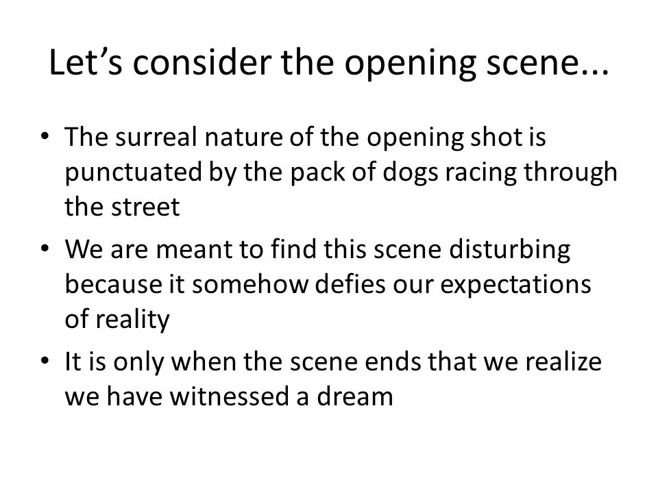 Let's consider the opening scene... The surreal nature of the opening shot is punctuated by the pack of dogs racing through the street We are meant to