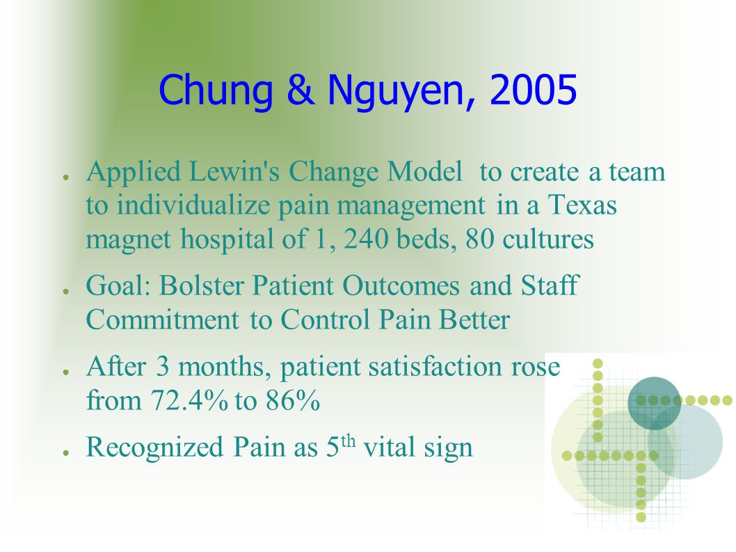 Chung & Nguyen, 2005 ● Applied Lewin's Change Model to create a team to individualize pain management in a Texas magnet hospital of 1, 240 beds, 80 cu