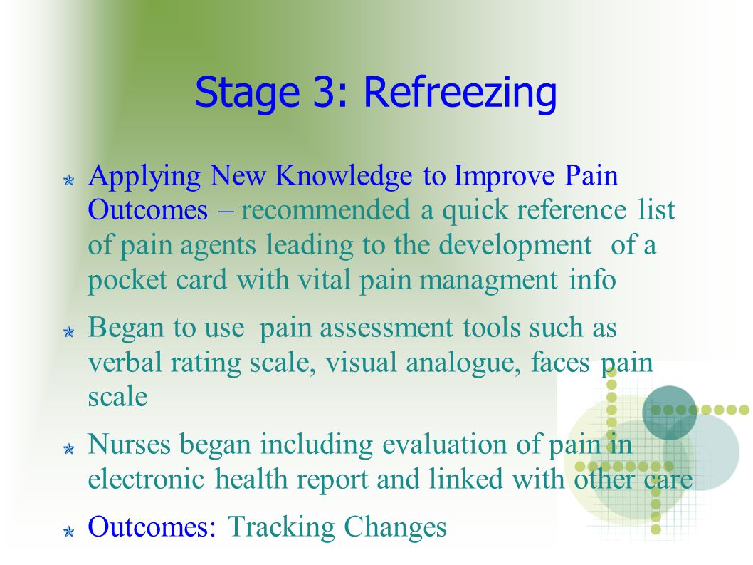 Stage 3: Refreezing Applying New Knowledge to Improve Pain Outcomes – recommended a quick reference list of pain agents leading to the development of