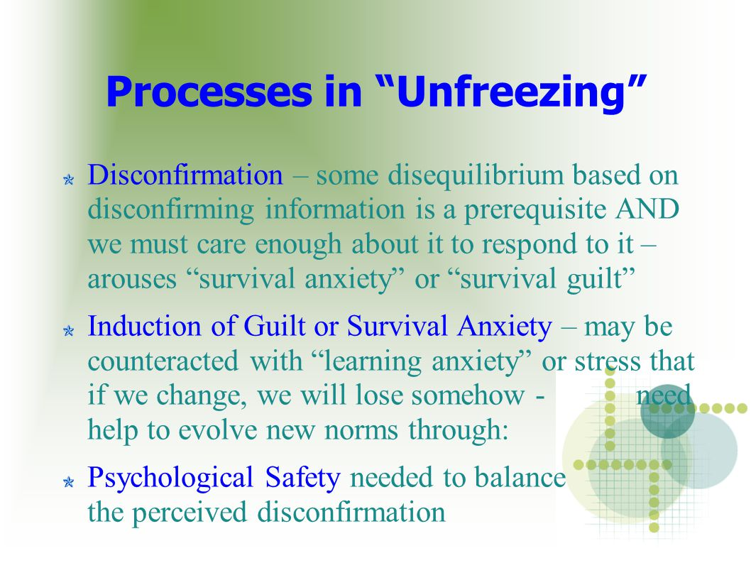 "Processes in ""Unfreezing"" Disconfirmation – some disequilibrium based on disconfirming information is a prerequisite AND we must care enough about it"