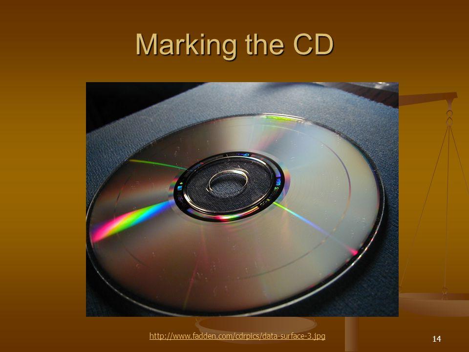 14 Marking the CD http://www.fadden.com/cdrpics/data-surface-3.jpg