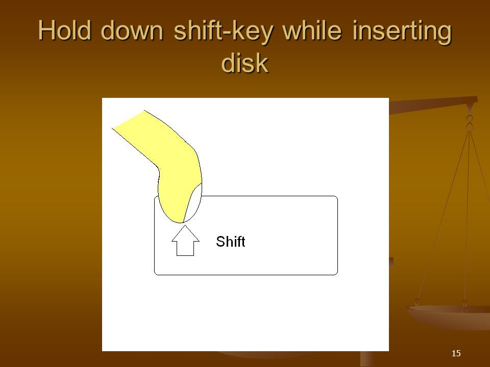 15 Hold down shift-key while inserting disk