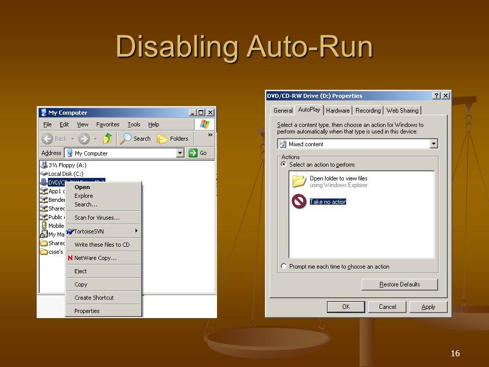 16 Disabling Auto-Run