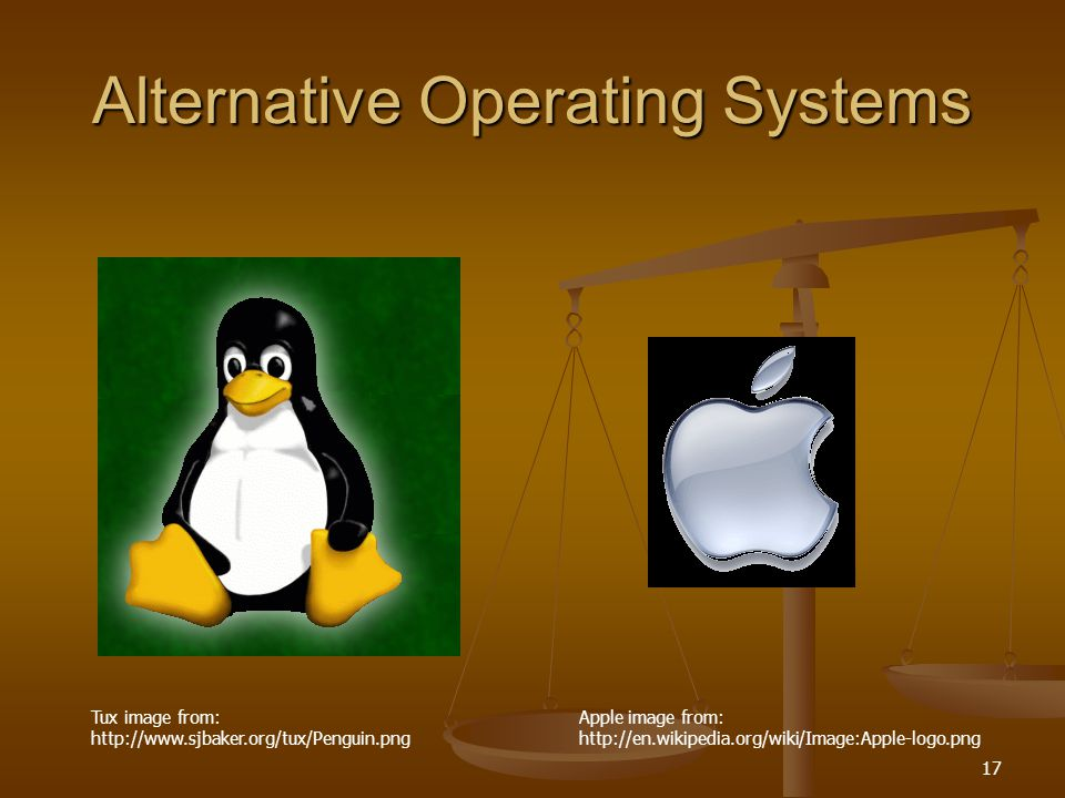 17 Alternative Operating Systems Apple image from: http://en.wikipedia.org/wiki/Image:Apple-logo.png Tux image from: http://www.sjbaker.org/tux/Penguin.png