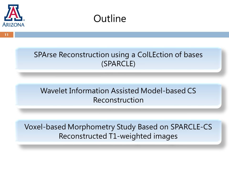 Outline Wavelet Information Assisted Model-based CS Reconstruction SPArse Reconstruction using a ColLEction of bases (SPARCLE) Voxel-based Morphometry Study Based on SPARCLE-CS Reconstructed T1-weighted images 11