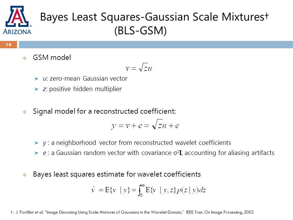 Bayes Least Squares-Gaussian Scale Mixtures† (BLS-GSM)  GSM model u: zero-mean Gaussian vector z: positive hidden multiplier  Signal model for a rec
