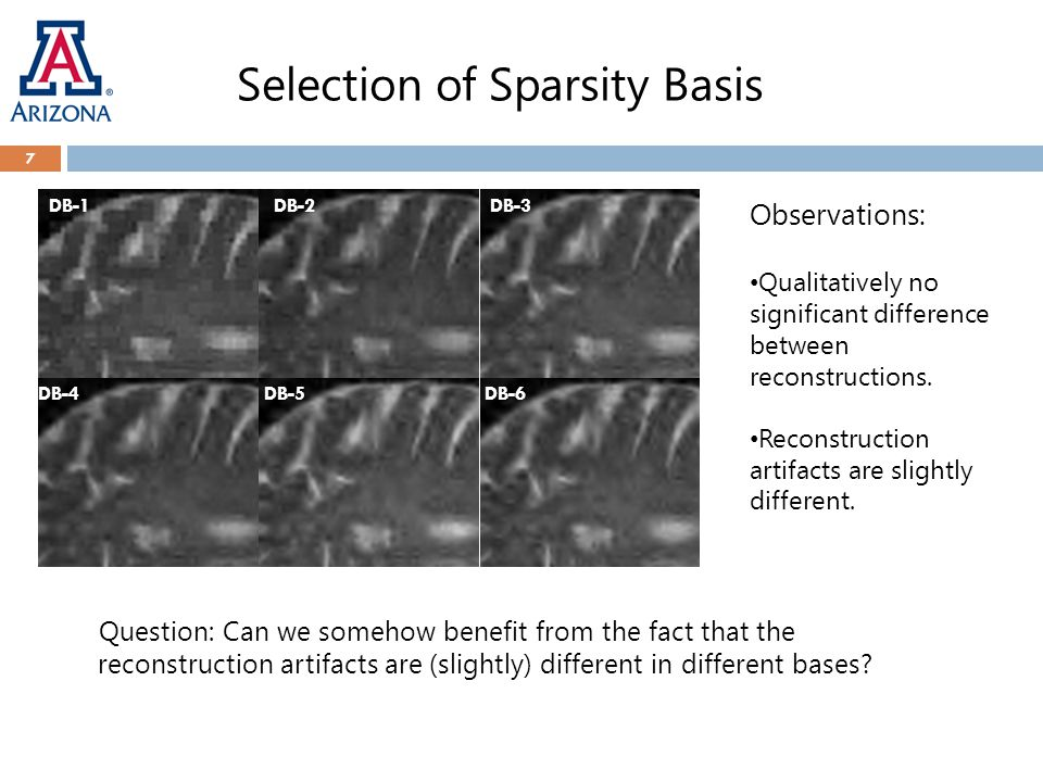 Selection of Sparsity Basis Question: Can we somehow benefit from the fact that the reconstruction artifacts are (slightly) different in different bases.