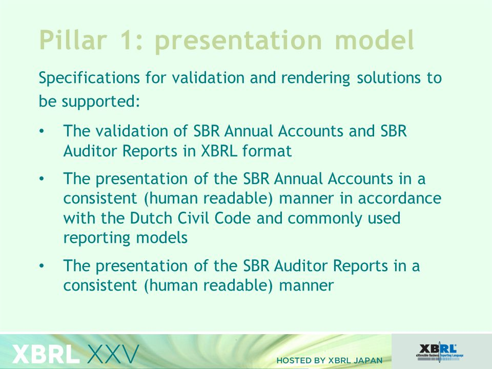 Pillar 1: presentation model Specifications for validation and rendering solutions to be supported: The validation of SBR Annual Accounts and SBR Auditor Reports in XBRL format The presentation of the SBR Annual Accounts in a consistent (human readable) manner in accordance with the Dutch Civil Code and commonly used reporting models The presentation of the SBR Auditor Reports in a consistent (human readable) manner