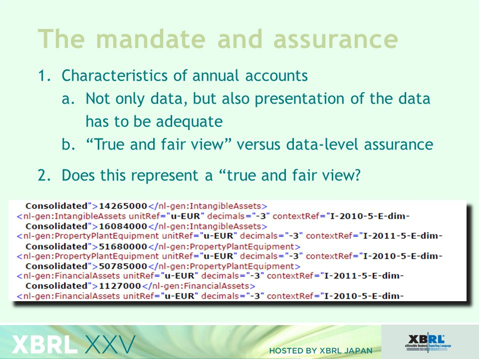 The mandate and assurance 1.Characteristics of annual accounts a.Not only data, but also presentation of the data has to be adequate b. True and fair view versus data-level assurance 2.Does this represent a true and fair view?