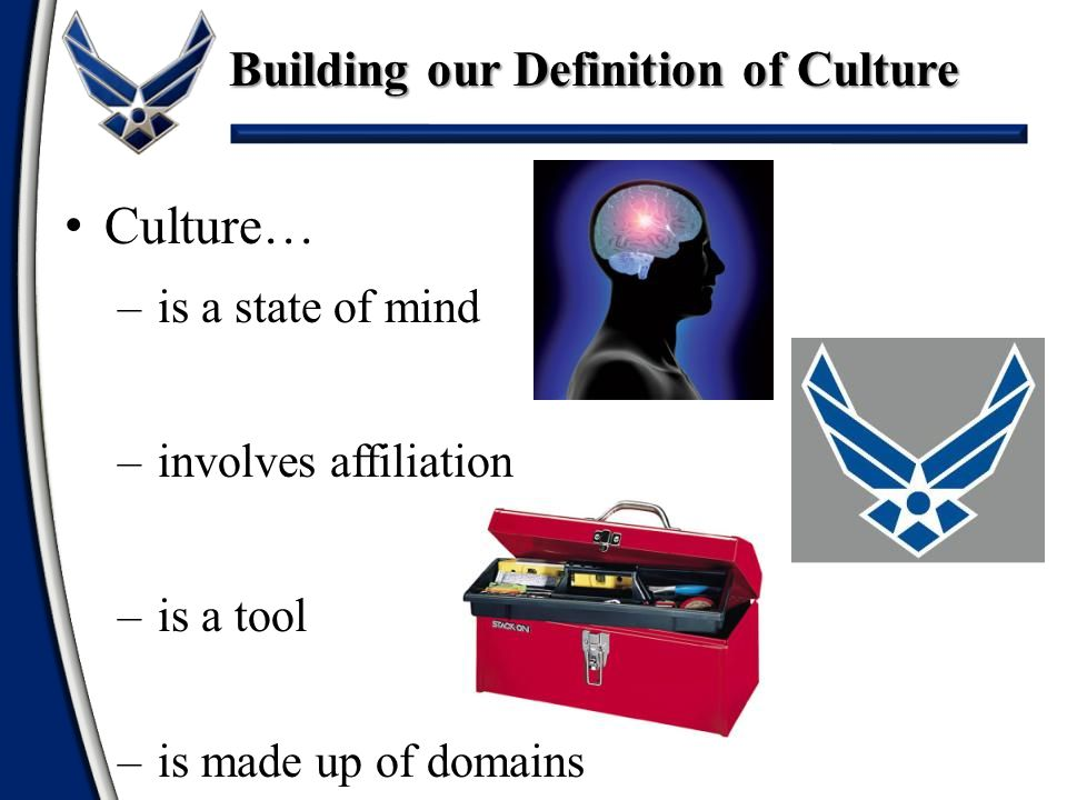 Building our Definition of Culture Characteristics of Culture –Learned and shared –Symbolic –Holistic –Influences and is influenced So when we add all this together we get…