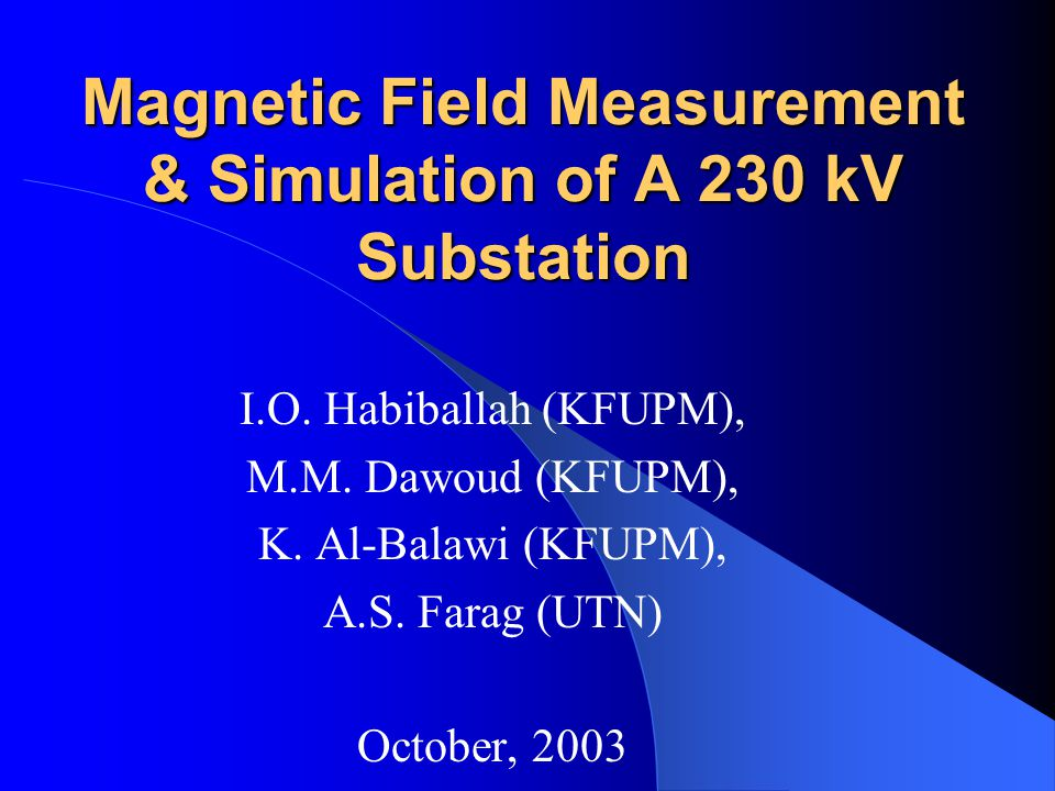 Magnetic Field Measurement & Simulation of A 230 kV Substation I.O.