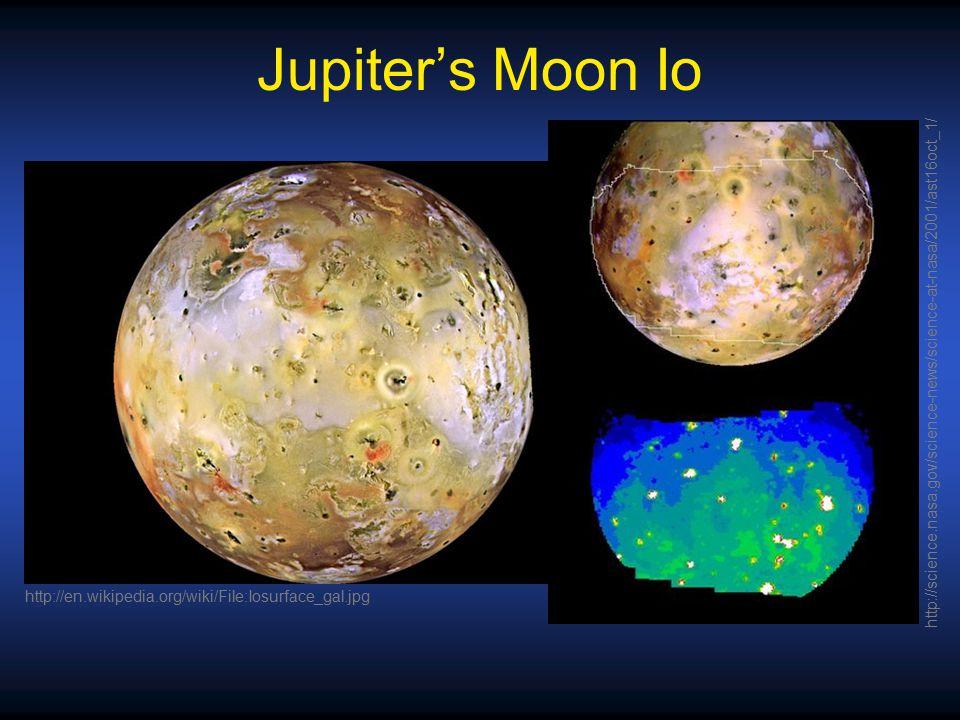 Jupiter's Moon Io http://science.nasa.gov/science-news/science-at-nasa/2001/ast16oct_1/ http://en.wikipedia.org/wiki/File:Iosurface_gal.jpg