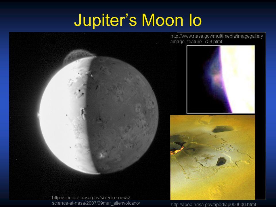 Jupiter's Moon Io http://apod.nasa.gov/apod/ap000606.html http://www.nasa.gov/multimedia/imagegallery /image_feature_758.html http://science.nasa.gov/science-news/ science-at-nasa/2007/09mar_alienvolcano/
