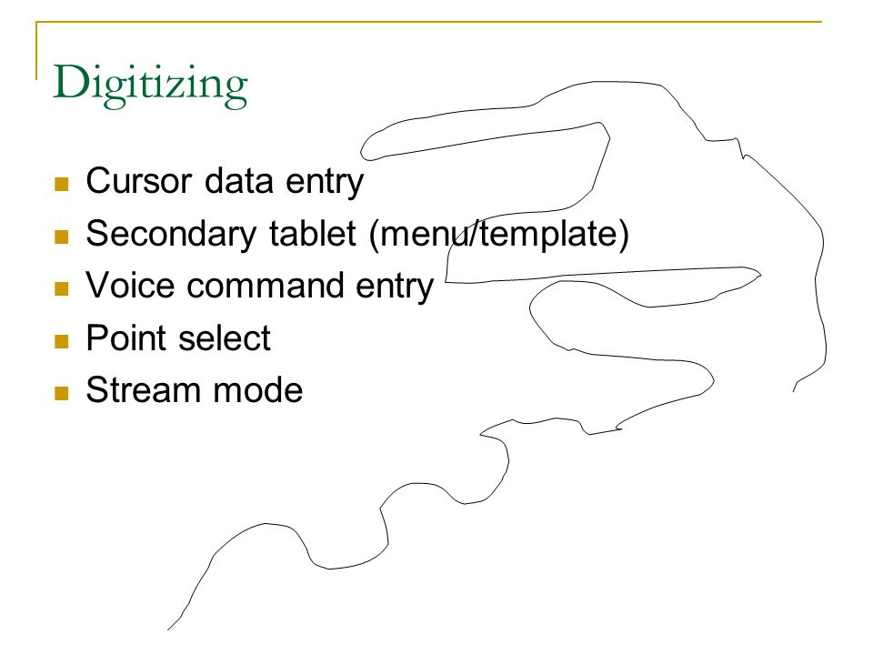 Digitizing Cursor data entry Secondary tablet (menu/template) Voice command entry Point select Stream mode