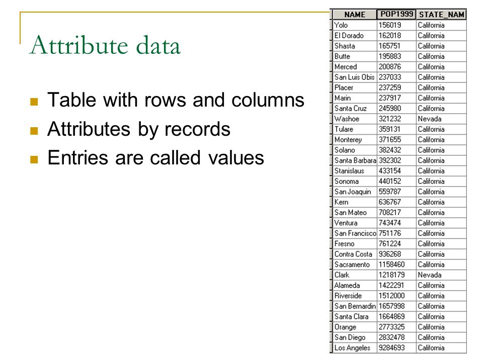 Attribute data Table with rows and columns Attributes by records Entries are called values