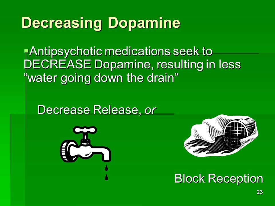 22 Decreasing Neurotransmission  Medications can DECREASE the effect of a neurotransmitter in two ways  Decrease Release  Block Reception