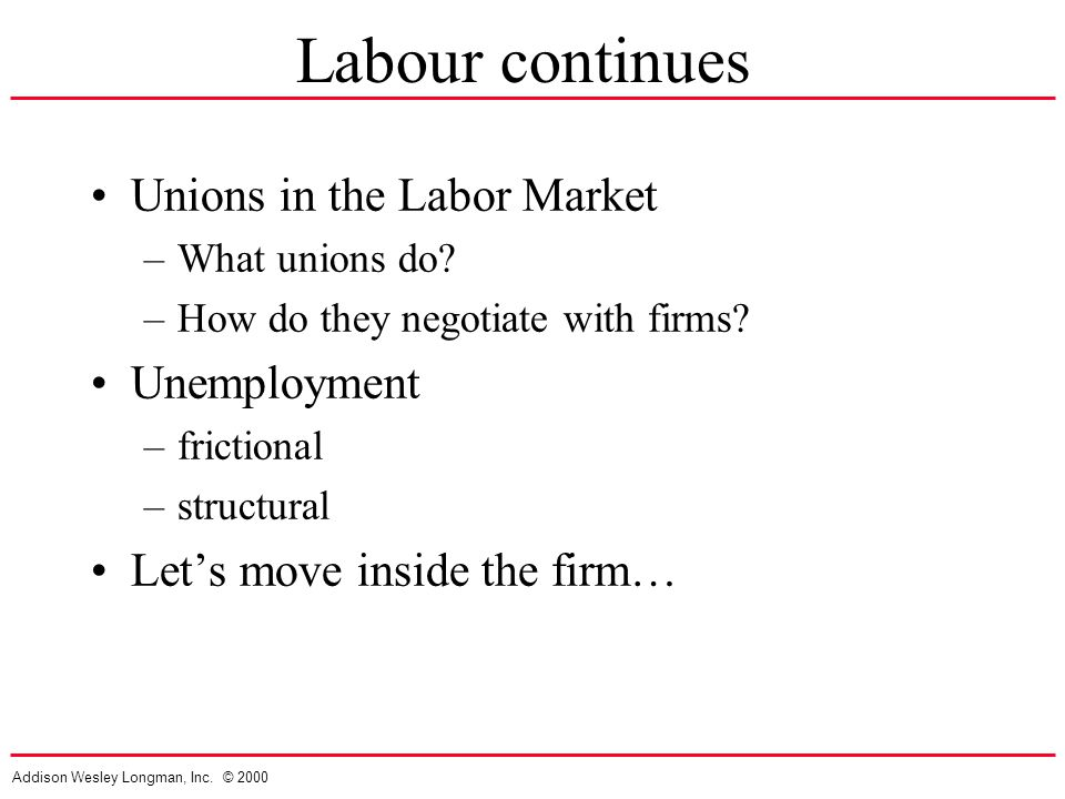 Addison Wesley Longman, Inc. © 2000 Labour continues Unions in the Labor Market –What unions do.