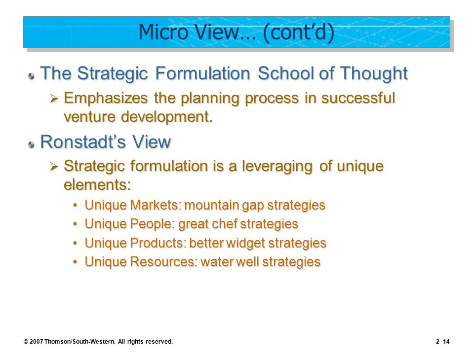 © 2007 Thomson/South-Western. All rights reserved.2–14 Micro View… (cont'd) The Strategic Formulation School of Thought  Emphasizes the planning proc