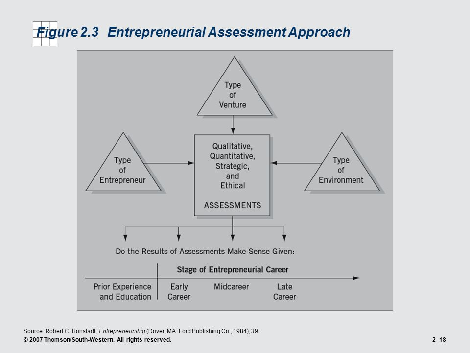 © 2007 Thomson/South-Western. All rights reserved.2–18 Figure 2.3Entrepreneurial Assessment Approach Source: Robert C. Ronstadt, Entrepreneurship (Dov