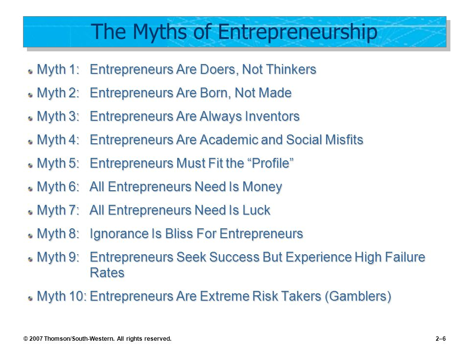 © 2007 Thomson/South-Western. All rights reserved.2–6 The Myths of Entrepreneurship Myth 1:Entrepreneurs Are Doers, Not Thinkers Myth 2:Entrepreneurs
