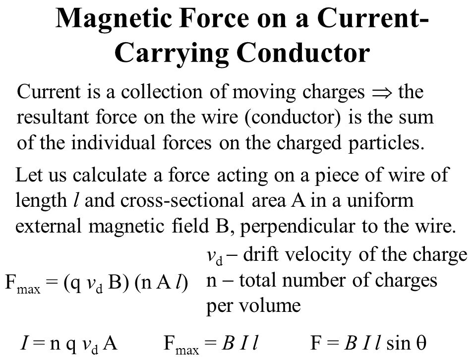 Magnetic Force on a Current- Carrying Conductor Current is a collection of moving charges  the resultant force on the wire (conductor) is the sum of the individual forces on the charged particles.