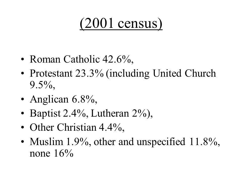 (2001 census) Roman Catholic 42.6%, Protestant 23.3% (including United Church 9.5%, Anglican 6.8%, Baptist 2.4%, Lutheran 2%), Other Christian 4.4%, Muslim 1.9%, other and unspecified 11.8%, none 16%