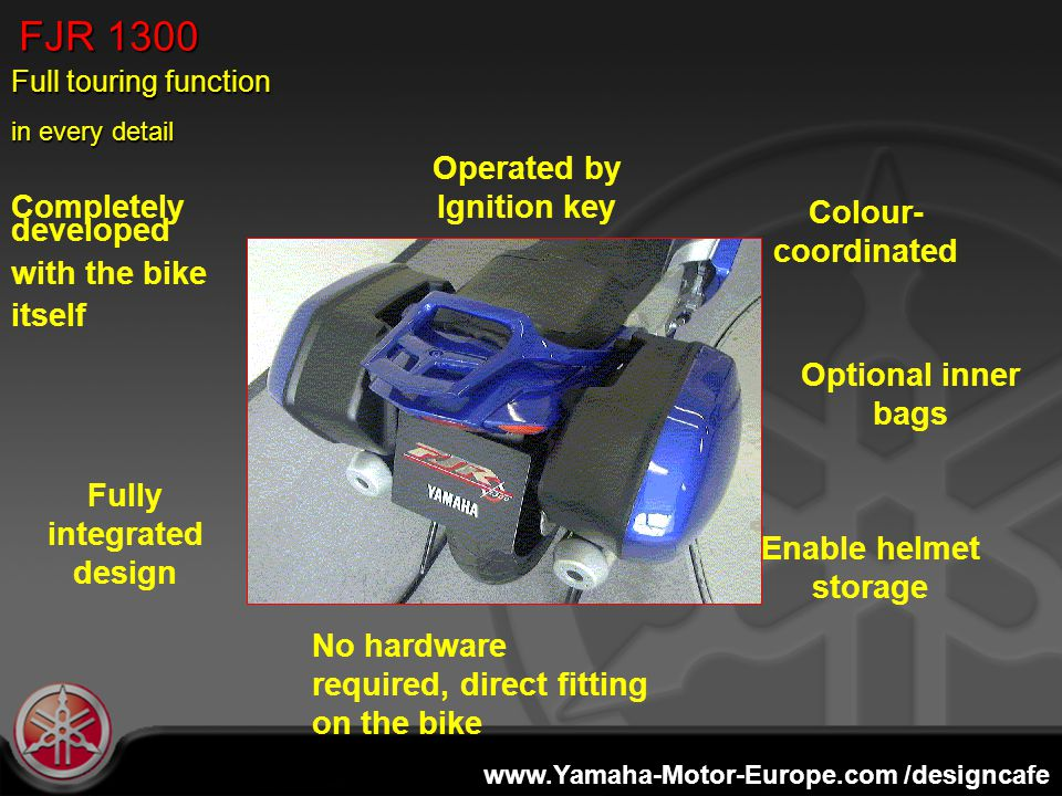 www.Yamaha-Motor-Europe.com /designcafe FJR 1300 No hardware required, direct fitting on the bike Operated by Ignition key Fully integrated design Ena