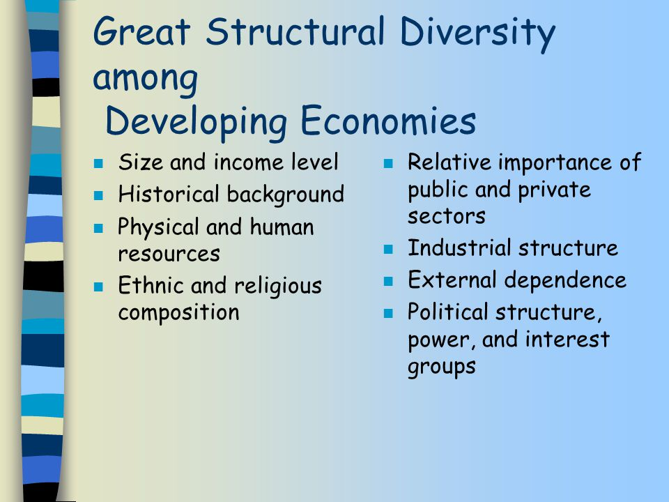 Great Structural Diversity among Developing Economies n Size and income level n Historical background n Physical and human resources n Ethnic and religious composition n Relative importance of public and private sectors n Industrial structure n External dependence n Political structure, power, and interest groups