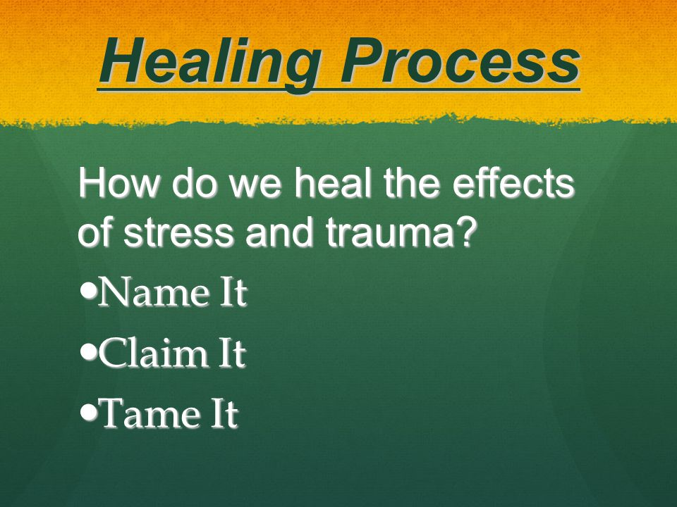 Healing Process How do we heal the effects of stress and trauma.
