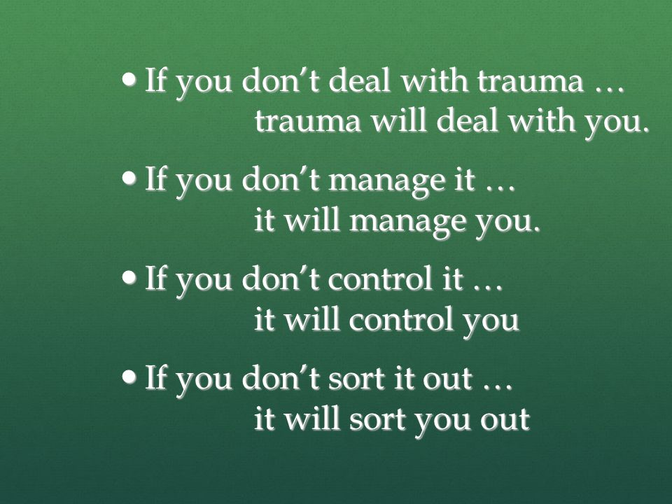 Recommendation Goal: For therapists, police, medical staff, clergy who are exposed to vicarious or direct trauma attend a full 5 day workshop Goal: For therapists, police, medical staff, clergy who are exposed to vicarious or direct trauma attend a full 5 day workshop The affected and those infected by stress and trauma get one on one support to overcome and process the symptoms of the stress or trauma The affected and those infected by stress and trauma get one on one support to overcome and process the symptoms of the stress or trauma Contact: p.boyle@usa.net Contact: p.boyle@usa.netp.boyle@usa.net www.holistictraumahealing.org www.holistictraumahealing.org www.holistictraumahealing.org