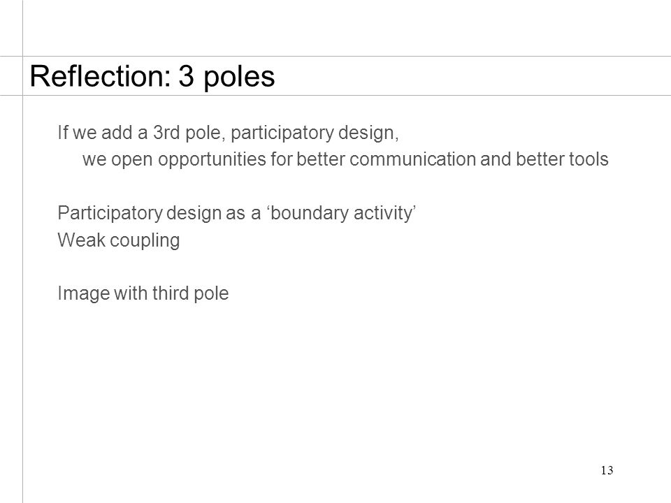 13 Reflection: 3 poles If we add a 3rd pole, participatory design, we open opportunities for better communication and better tools Participatory desig