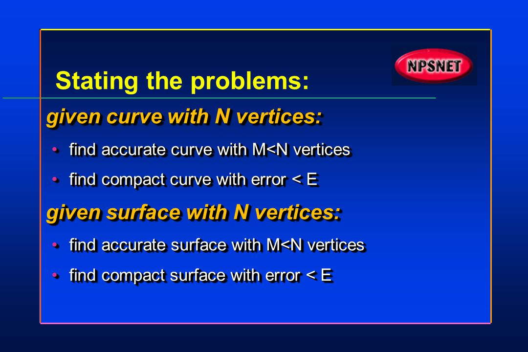 Stating the problems: given curve with N vertices: find accurate curve with M<N verticesfind accurate curve with M<N vertices find compact curve with