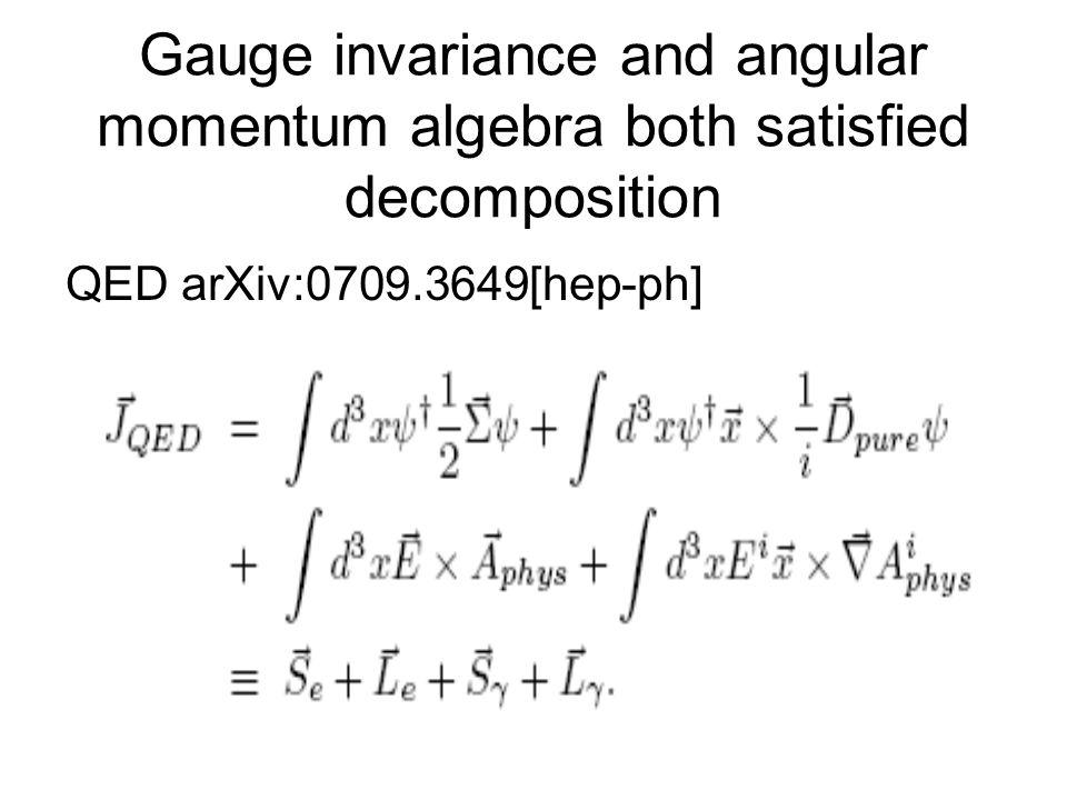 Gauge invariance and angular momentum algebra both satisfied decomposition QED arXiv:0709.3649[hep-ph]