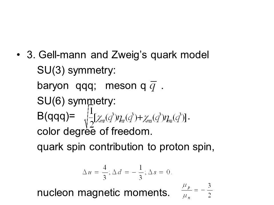 3. Gell-mann and Zweig's quark model SU(3) symmetry: baryon qqq; meson q.