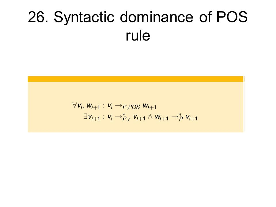 26. Syntactic dominance of POS rule