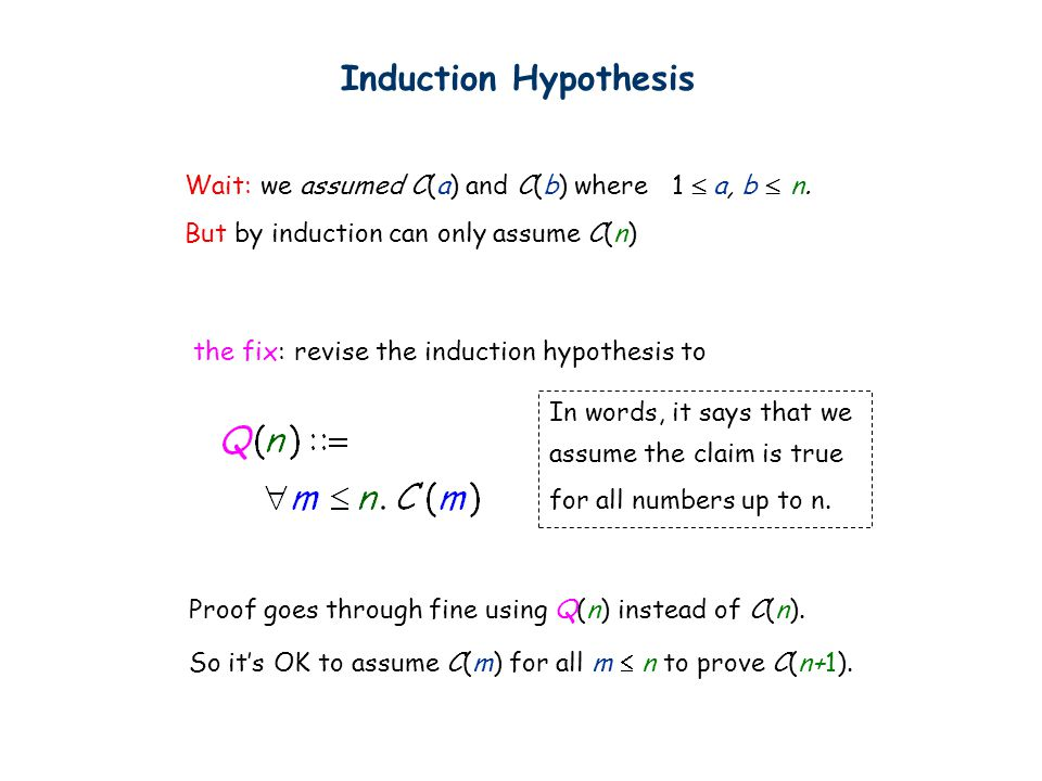 Induction Hypothesis Wait: we assumed C(a) and C(b) where 1  a, b  n.