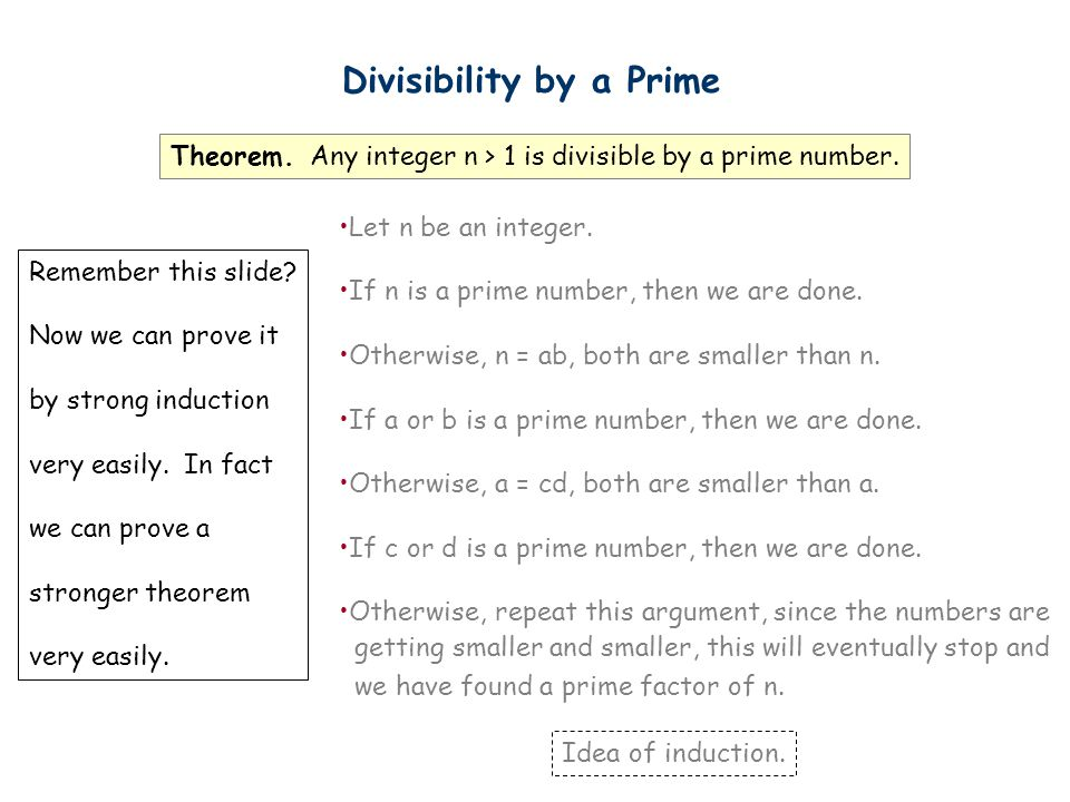 Divisibility by a Prime Theorem. Any integer n > 1 is divisible by a prime number.