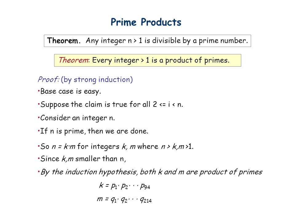 Theorem: Every integer > 1 is a product of primes.