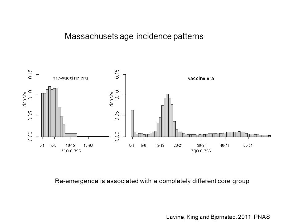 Re-emergence is associated with a completely different core group Massachusets age-incidence patterns Lavine, King and Bjornstad.