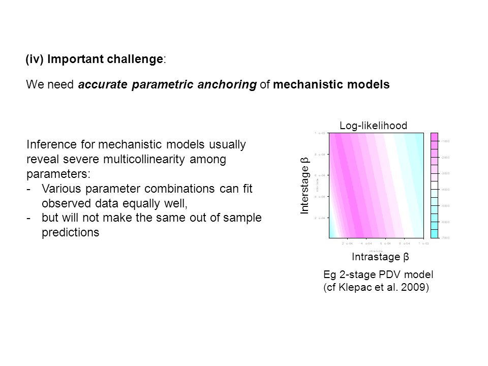 (iv) Important challenge: We need accurate parametric anchoring of mechanistic models Inference for mechanistic models usually reveal severe multicollinearity among parameters: -Various parameter combinations can fit observed data equally well, -but will not make the same out of sample predictions Log-likelihood Intrastage β Interstage β Eg 2-stage PDV model (cf Klepac et al.